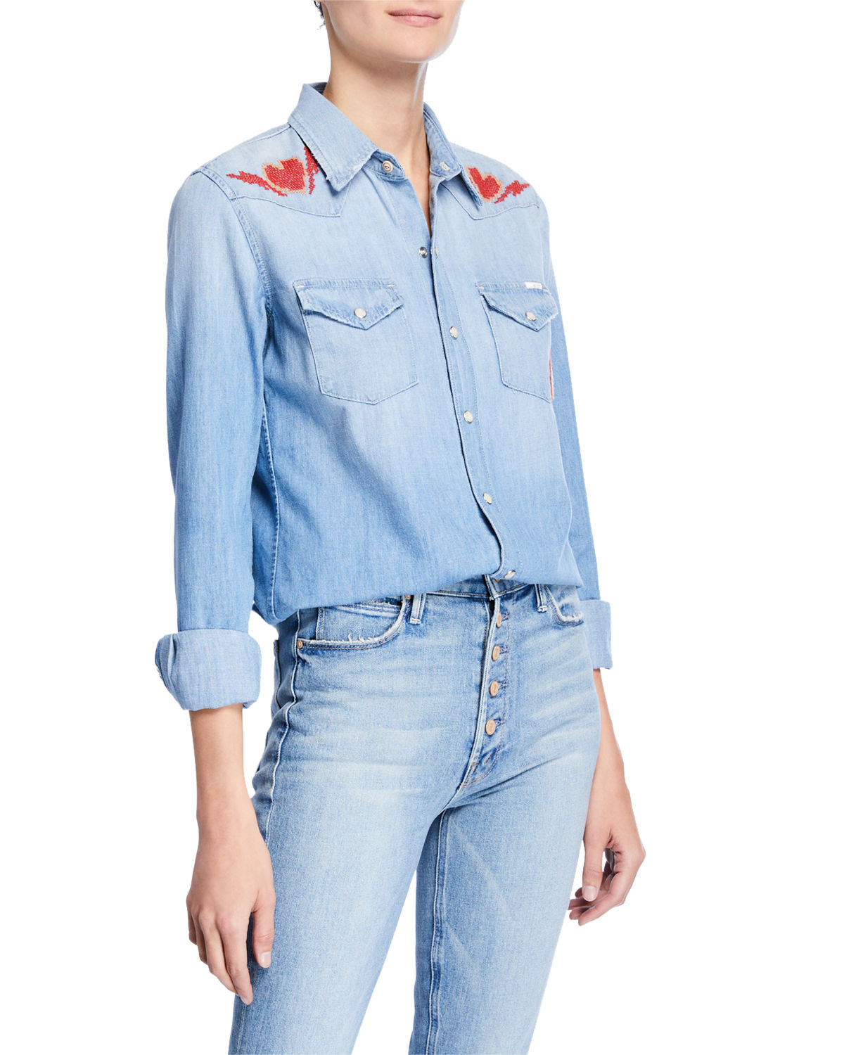c56452026f MOTHER All My Exes Button-Down Denim Shirt