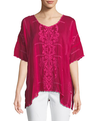 Johnny Was Demoran V-Neck Easy Top, Plus Size