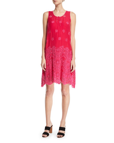 Tiered Eyelet Tank Dress, Plus Size