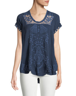 Johnny Was Melrose Scoop-Neck High-Low Top, Plus Size
