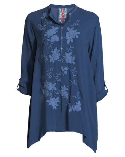 Sobina Embroidered Tab-Sleeve Tunic, Plus Size