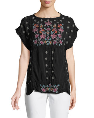 Austina Short-Sleeve Embroidered Top
