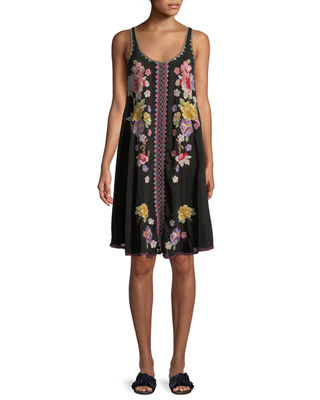 Johnny Was Peta Sleeveless Floral-Embroidered Dress