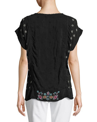 Image 2 of 3: Austina Short-Sleeve Embroidered Top, Plus Size