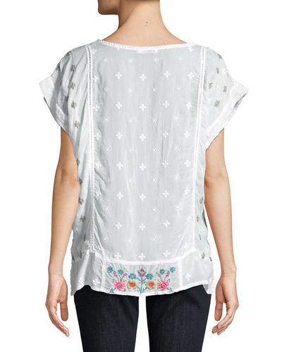 Austina Short-Sleeve Embroidered Top, Plus Size