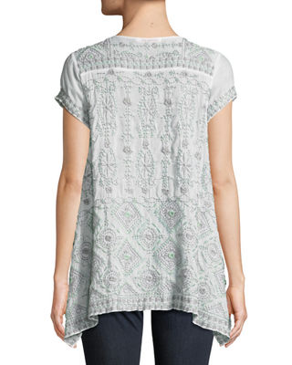 Image 2 of 3: Kyuss V-Neck Embroidered Blouse