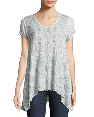 Johnny Was Kyuss V-Neck Embroidered Blouse, Plus Size