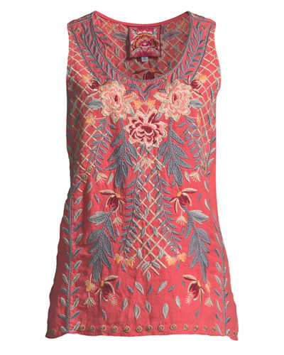 Katrina Embroidered Linen Tank, Plus Size