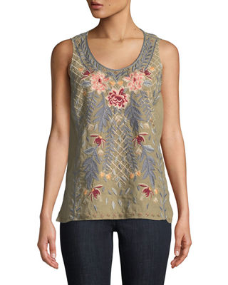 Katrina Embroidered Linen Tank