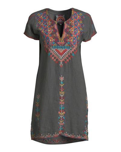 Veisia Embroidered Linen Tunic Dress, Plus Size