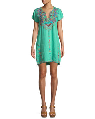 Veisia Embroidered Linen Tunic Dress