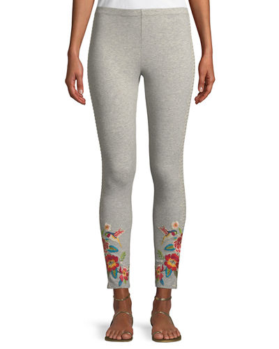 Samira Hummingbird Embroidered Leggings, Plus Size