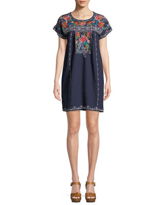 Samira Linen Peasant Tunic Dress