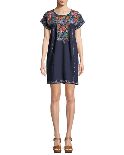 Samira Linen Peasant Tunic Dress, Plus Size