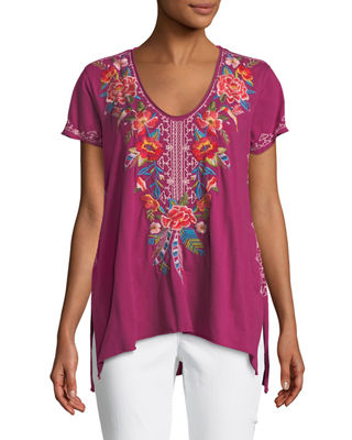 Samira Short-Sleeve Draped Top