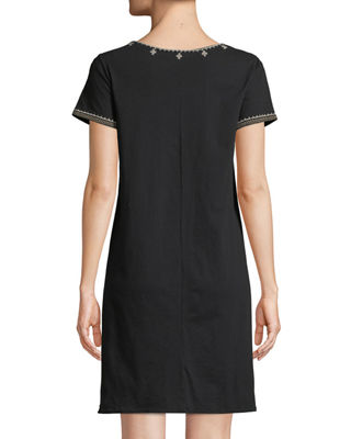 Image 2 of 3: Lane Short-Sleeve Embroidered Tunic Dress