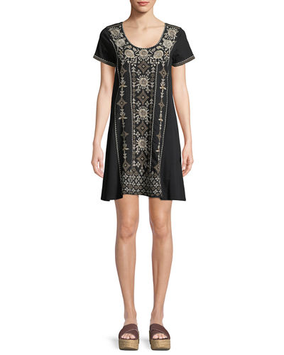 Lane Short-Sleeve Embroidered Tunic Dress