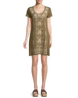 Johnny Was Lane Short-Sleeve Embroidered Tunic Dress