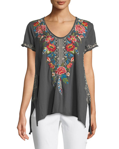Samira Short-Sleeve Draped Top, Plus Size