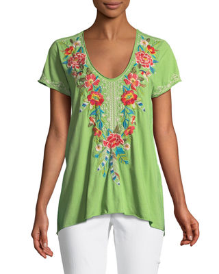 Image 1 of 3: Samira Short-Sleeve Draped Top, Plus Size