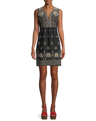 Lane Embroidered Linen Tank Dress, Plus Size
