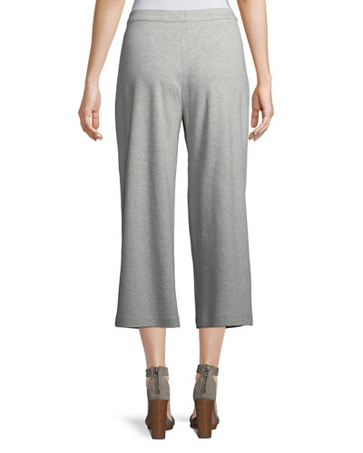 Cropped Cotton Interlock Wide-Leg Pants