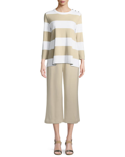 Joan Vass Cropped Cotton Interlock Wide-Leg Pants
