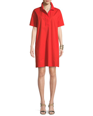 Short-Sleeve Collared Shift Dress