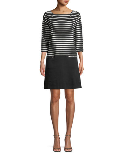 Striped Interlock Dress w/ Zip Pockets