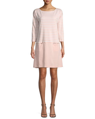 Striped Interlock Dress w/ Zip Pockets, Petite