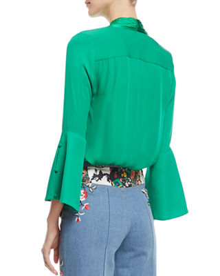 Image 2 of 4: Meredith Tie-Neck Bell-Sleeve Button-Front Silk Blouse