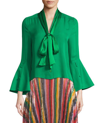 Image 3 of 4: Meredith Tie-Neck Bell-Sleeve Button-Front Silk Blouse
