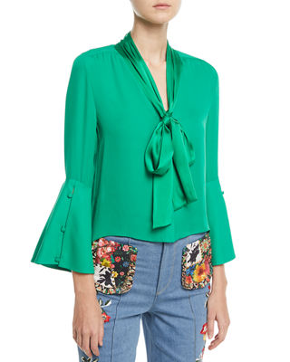 Image 1 of 4: Meredith Tie-Neck Bell-Sleeve Button-Front Silk Blouse