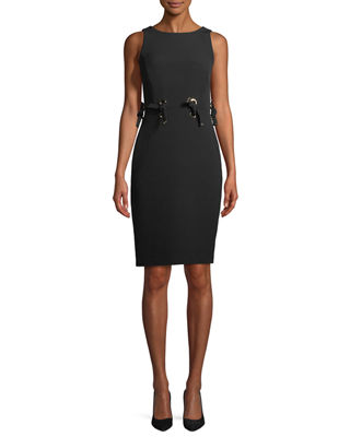 Tie Grommet Sleeveless Sheath Dress