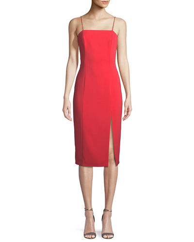 High-Slit Open-Back Midi Cocktail Dress