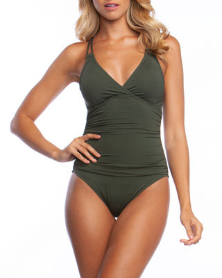 LA BLANCA Island Underwire X-Back Solid One-Piece Swimsuit in Olive