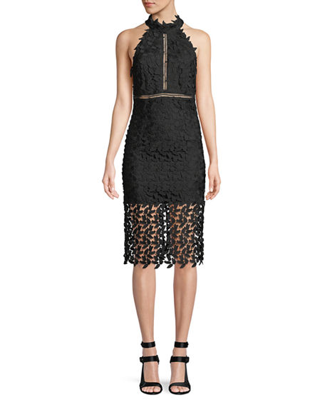 Image 1 of 4: Bardot Gemma Sleeveless Halter Lace-Guipure Cocktail Dress