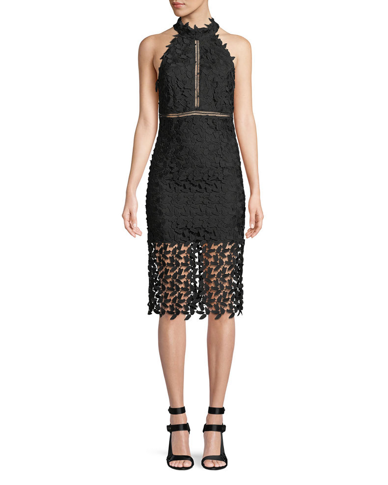 Bardot Gemma Sleeveless Halter Lace-Guipure Cocktail Dress