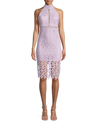 Gemma Sleeveless Halter Lace-Guipure Cocktail Dress