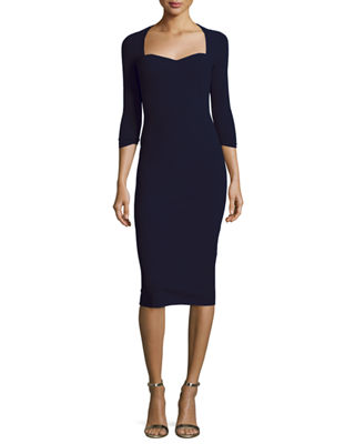 Image 1 of 2: Custom Collection: Serenity 3/4-Sleeve Body-Conscious Dress