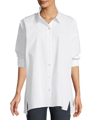 Eileen Fisher Organic Cotton Poplin Long-Sleeve Swing Top
