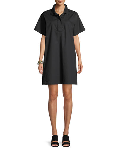Short-Sleeve Collared Shift Dress, Plus Size