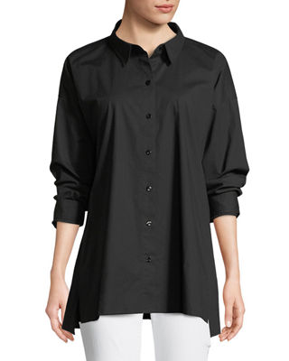 Eileen Fisher Organic Cotton Poplin Long-Sleeve Swing Top,