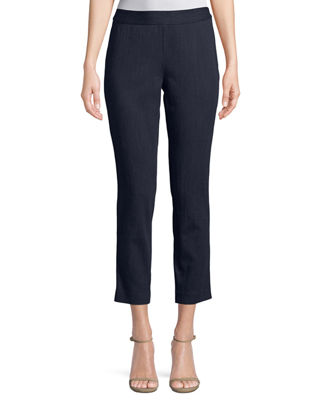 Josie Natori Denim Side-Zip Flat-Front Pants