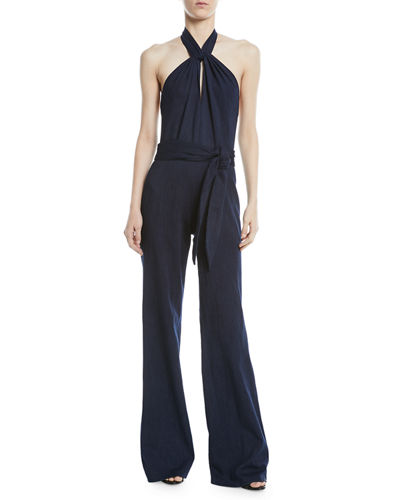 2cb34f82c2e Quick Look. Josie Natori · Denim Halter Wide-Leg Jumpsuit
