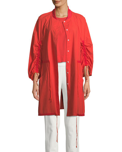 Ruched-Sleeve Tie-Front Topper Jacket