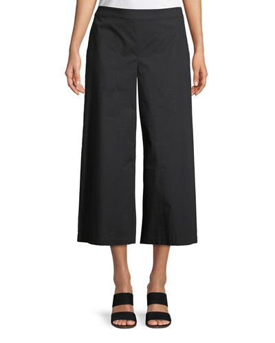 Organic Cotton Wide-Leg Cropped Pants, Petite