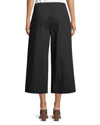 Image 2 of 3: Organic Cotton Wide-Leg Cropped Pants, Plus Size