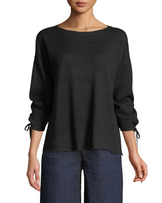 Eileen Fisher Organic Linen Knit Tie-Cuff Sweater