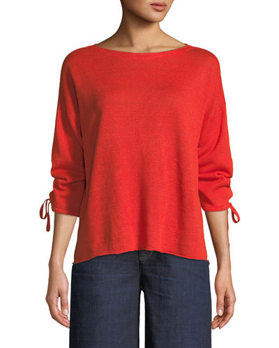 Eileen Fisher Organic Linen Knit Tie-Cuff Sweater and
